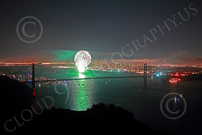 ENGF-GGB 00356 Green fireworks burst above the Golden Gate Bridge to celebrate a landmark anniversary picture by Peter J Mancus