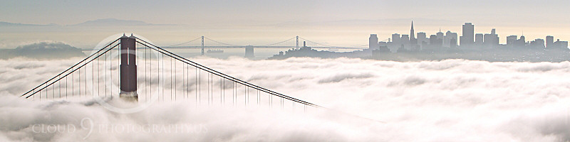 ENGF-GGB 00200 One Golden Gate Bridge tower towers about fog with San Francisco in the background, by Peter J Mancus