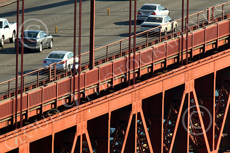 ENGF-GGB 00054 Close up detail of traffic across mid-section of the Golden Gate Bridge, by Peter J Mancus