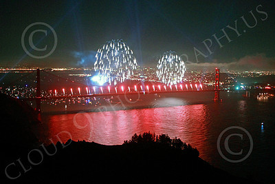 ENGF-GGB 00358 Colorful fireworks burst above the Golden Gate Bridge to celebrate a landmark anniversary picture by Peter J Mancus