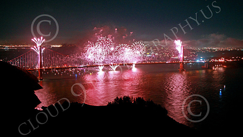 ENGF-GGB 00325 Fabulous pink fireworks burst over the Golden Gate Bridge to celebrate a landmark anniversary picture by Peter J Mancus