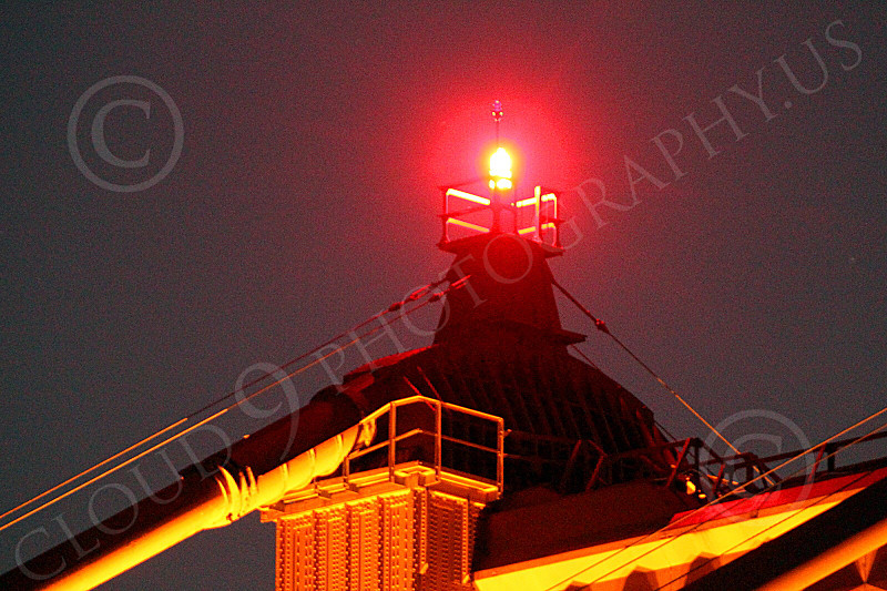 ENGF-GGB 00108 Close up night detail top of north Golden Gate Bridge tower light, by Peter J Mancus