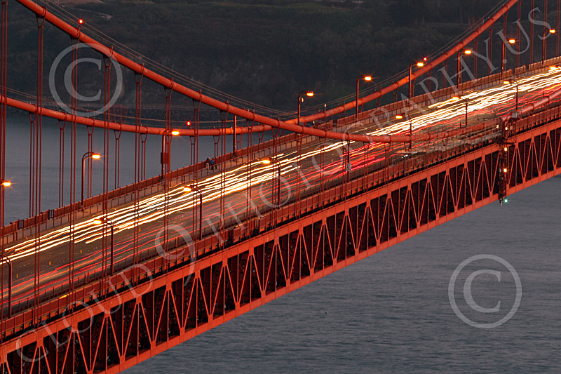 ENGF-GGB 00098 Time lapse picture of traffic on the Golden Gate Bridge at night, by Peter J Mancus
