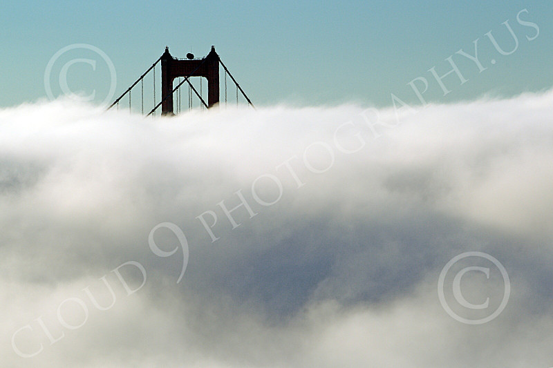 ENGF-GGB 00079 Fog surrounds the Golden Gate Bridge's north tower, by Peter J Mancus