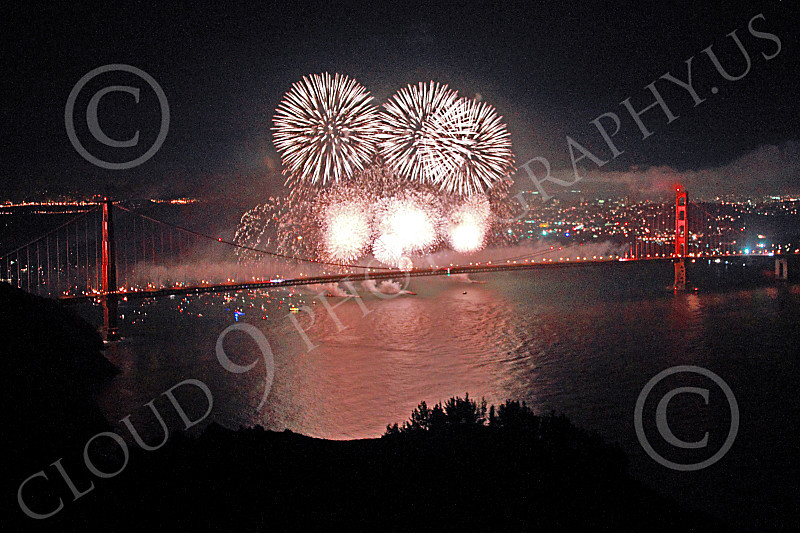 ENGF-GGB 00332 White fireworks burst over the Golden Gate Bridge to celebrate a landmark anniversary picture by Peter J Mancus