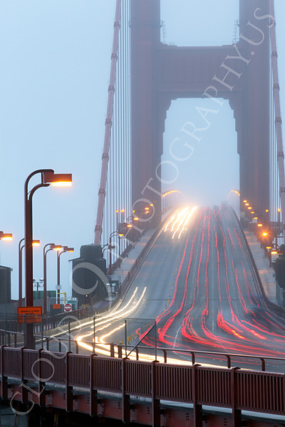 ENGF-GGB 00027 Time lapse photography of night vehicular traffic on north end of the Golden Gate Bridge, by Peter J Mancus