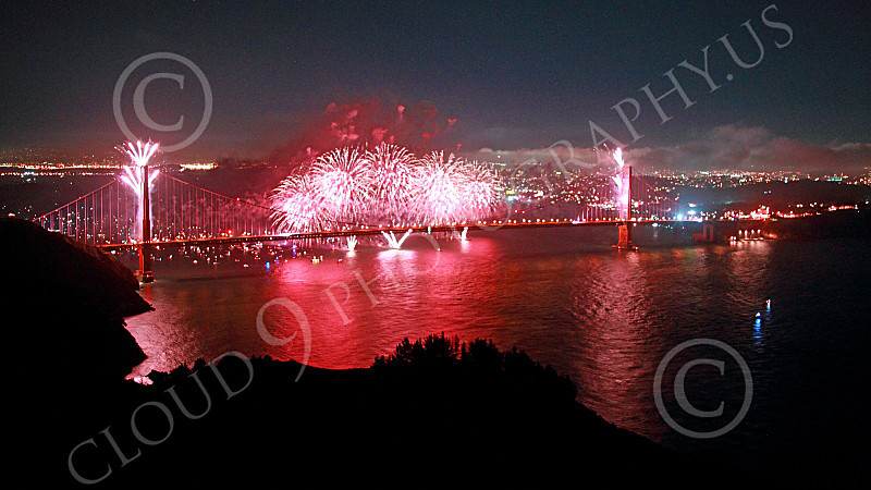 ENGF-GGB 00326 Fabulous extensive pink fireworks burst over the Golden Gate Bridge to celebrate a landmark anniversary picture by Peter J Mancus