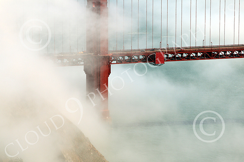 ENGF-GGB 00280 A tight crop of part of the Golden Gate Bridge's northern end, amidst fog, by Peter J Mancus