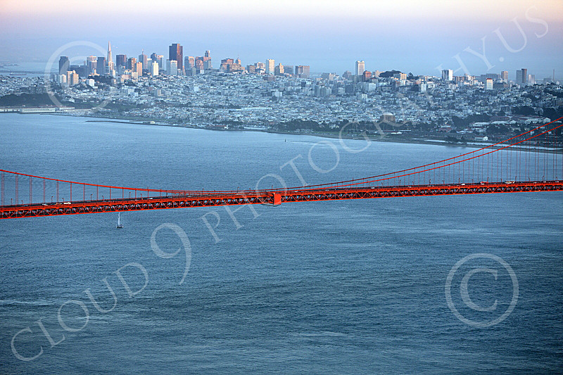 ENGF-GGB 00081 A tight crop of part of the Golden Gate Bridge's mid-span with San Francisco in the backgroud, by Peter J Mancus