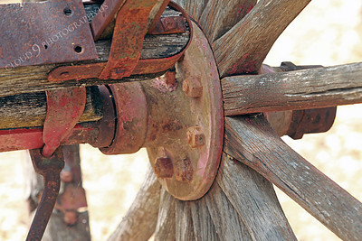 AMER-WagW 00001 Close up of an old wagon's wheel hub at Angel's Camp, California by Peter J Mancus