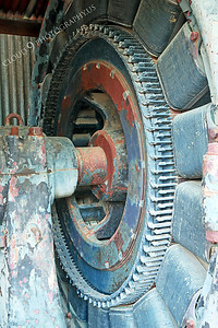 AMER-ME 00003 Close up detail of a large above ground mining equipment at Angel's Camp Museum, California by Peter J Mancus