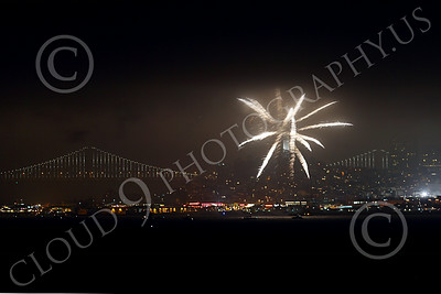 FIREWORKS 00006 A firework explodes over San Francisco Bay before Coit Tower fireworks picture by Peter J Mancus
