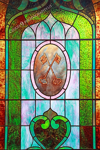 AMER-StainGW 00005 An old beautiful stained glass window at Angel's Camp, California by Peter J Mancus