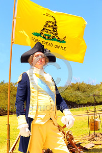 HR-GenGWash 00001 A General George Washington historical re-enactor stands proudly with determination commitment to independence and liberty by Peter J Mancus
