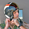 ACM 00447 A US Navy Boeing EA-18 Growler aircrew member snaps on his flight helmet in preparation for a flight at NAS Fallon 7-2016, aircrew picture by Peter J  Mancus