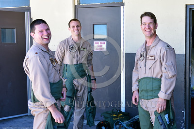 ACM 00420 Three US Navy Boeing EA-18 Growler aircrew members at NAS Fallon 7-2016 take a break from getting ready for a mission to pose for the camera, aircrew picture by Peter J  Mancus