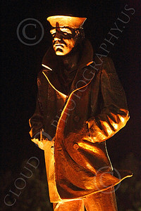 STY - The Lone Sailor 00031 This The Lone Sailor statute looks haunting at night, by Peter J Mancus