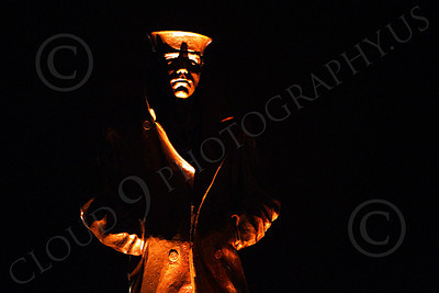 STY - The Lone Sailor 00016 Frontal view of The Lone Sailor statute at night, by Peter J Mancus