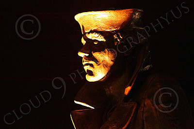 STY - The Lone Sailor 00022 Left side profile of The Lone Sailor statute at night, by Peter J Mancus