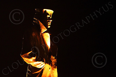 STY - The Lone Sailor 00014 Right side profile of The Lone Sailor statute at night, by Peter J Mancus