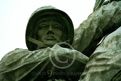 STY-USMCM 00024 Face of a couragous US Marine depicted in the US Marine Corps Memorial in Washington DC, statue picture by Peter J Mancus