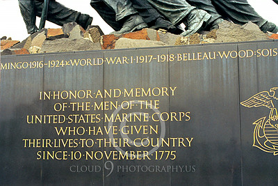 STY-USMCM 00010 A somber statement of deep respect and appreciation for US Marines on a side of the US Marine Corps Memorial in Washington DC, statue picture by Peter J Mancus