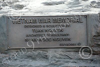 STY-VIETNWM 00022 A plaque on an impressive Vietnam War Memorial statue picture by Peter J Mancus