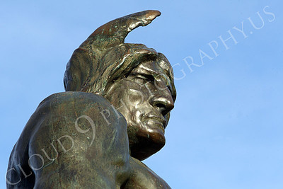STY - AmInd 00006 A tight crop of an American Indian warrior memorialized in an impressive statute, by Peter J Mancus