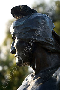 STY - AmInd 00007 A left side tight crop portrait of an American Indian warrior with a stern face scanning the horizon, by Peter J Mancus