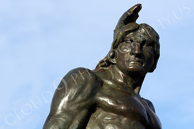 STY - AmInd 00012 A muscular American Indian warrior with a stern face scans the horizon, by Peter J Mancus