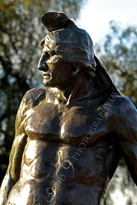 STY - AmInd 00011 A muscular American Indian warrior with a stern face scans the horizon, by Peter J Mancus