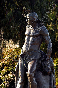 STY - AmInd 00001 An impressive statue of a muscular American Indian warrior, by Peter J Mancus