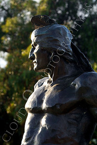 STY - AmInd 00013 An American Indian warrior with a stern face scans the horizon, by Peter J Mancus
