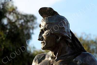 STY - AmInd 00010 An American Indian warrior with a stern face scans the horizon, by Peter J Mancus