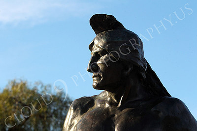 STY - AmInd 00004 An American Indian warrior with a stern face scans the horizon, by Peter J Mancus
