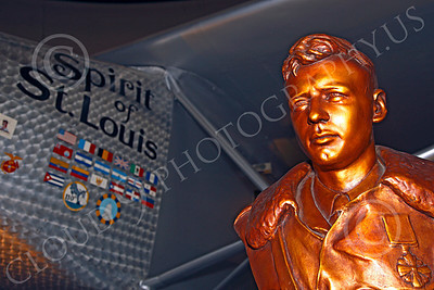 VIPS-Charles A Lindbergh 00010 A gold bust of Charles A Lindbergh near his famous Spirit of St Louis, by Peter J Mancus