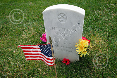 AMER-MilCem 00006 World War II US Navy Fleet Admiral Chester Nimitz's tombstone at a US military cemetery on Memorial Day, by Peter J Mancus