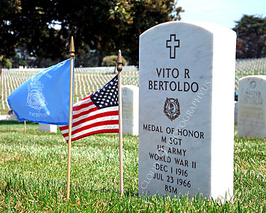 AMER-MilCem 00003B A picture of Medal of Honor winner US Army Master Seargeant Vito R Bertoldo's tombstone, on Memorial Day, by Peter J Mancus
