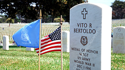 AMER-MilCem 00003C A picture of Medal of Honor winner US Army Master Seargeant Vito R Bertoldo's tombstone, on Memorial Day, by Peter J Mancus