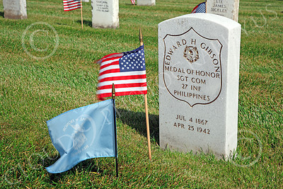 AMER-MilCem 00017 A picture of Medal of Honor winner Sgt Edward H Gibson's tombstone on Memorial Day, by Peter J Mancus