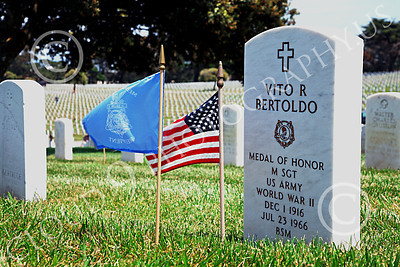 AMER-MilCem 00003 A picture of Medal of Honor winner US Army Master Seargeant Vito R Bertoldo's tombstone, on Memorial Day, by Peter J Mancus