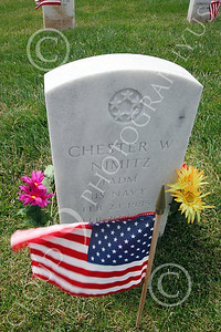 AMER-MilCem 00005 World War II US Navy Fleet Admiral Chester Nimitz's tombstone at a US military cemetery on Memorial Day, by Peter J Mancus