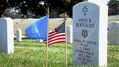 AMER-MilCem 00003A A picture of Medal of Honor winner US Army Master Seargeant Vito R Bertoldo's tombstone, on Memorial Day, by Peter J Mancus