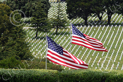 AMER-MilCem 00012 Two Old Glory US flags proudly on display at a US military cemetery on Memorial Day, by Peter J Mancus