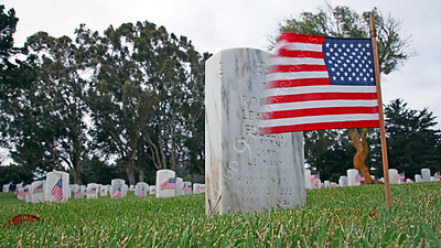 AMER-MilCem 00014A A sobering sight--Tombstones of American military service members at a US military cemetery on Memorial Day, by Peter J Mancus