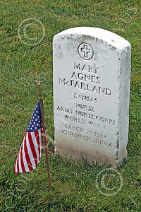 AMER-MilCem 00019 World War I US Army nurse Mary Agnes McFarland's tombstone at a US military cemetery on Memorial Day, by Peter J Mancus