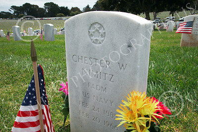 AMER-MilCem 00008 Close up of World War II US Navy Fleet Admiral Chester Nimitz's tombstone at a US military cemetery on Memorial Day, by Peter J Mancus