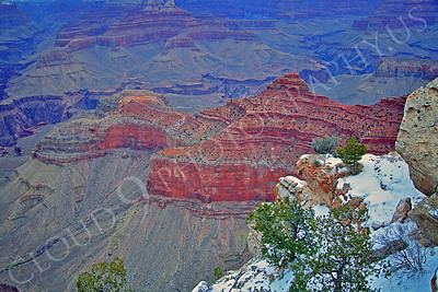 SCGNP 00002 A close up of extensive red rock with snow inside the Grand Canyon, by Peter J Mancus