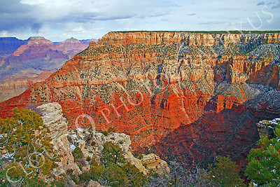 SCGNP 00019 One Grand Canyon cliff made up of red and yellow rocks, by Peter J Mancus