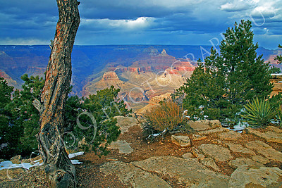 SCGNP 00006 A lovely view across the Grand Canyon with storm clouds, by Peter J Mancus